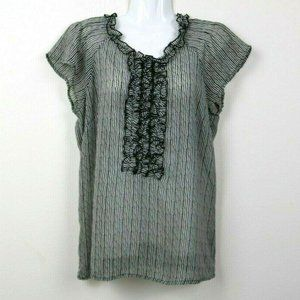 The Limited Womens Blouse Striped Sheer Ruffle